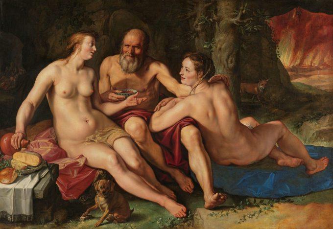 Lot en zijn dochters, Hendrick Goltzius, 1616
