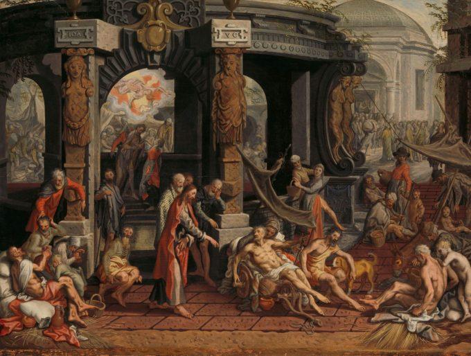 De genezing van de lamme van Bethesda., Pieter Aertsen, 1575