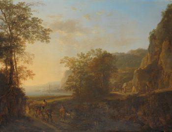 Italiaans landschap met gezicht op een haven., Jan Both, 1640 – 1652