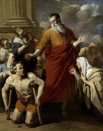 Paulus geneest de kreupele in Lystra, Karel du Jardin, 1663