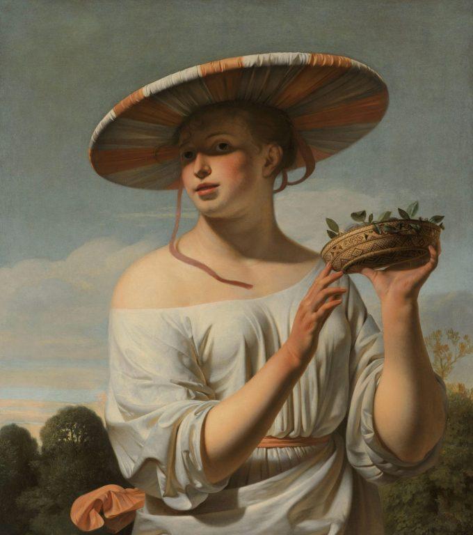 Meisje met een brede hoed, Caesar Boëtius van Everdingen, ca. 1645 - ca. 1650