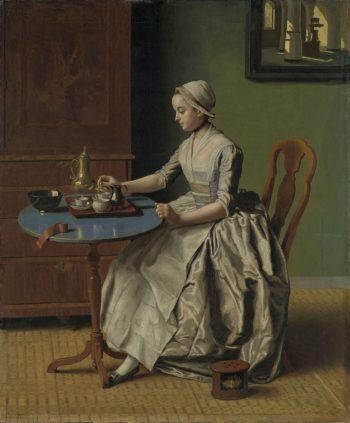 Hollands meisje aan het ontbijt, Jean-Etienne Liotard, ca. 1756