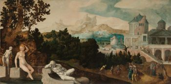 Landschap met Bathseba, Jan van Scorel, ca. 1540 – ca. 1545