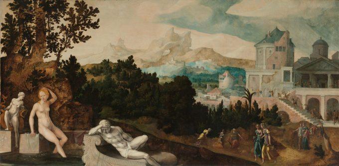 Landschap met Bathseba, Jan van Scorel, ca. 1540 - ca. 1545