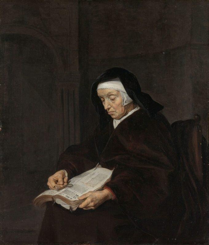Oude vrouw in overpeinzing, Gabriël Metsu, ca. 1661 - ca. 1663