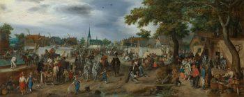 Prinsen Maurits en Frederik Hendrik op de paardenmarkt van Valkenburg, Adriaen Pieterszoon van de Venne, 1618