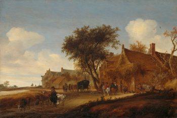 Dorpsherberg met reiswagen, Salomon van Ruysdael, 1655