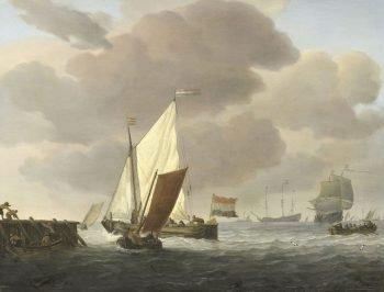 Schepen voor de kust bij flinke bries, Willem van de Velde (II), ca. 1650 – ca. 1707