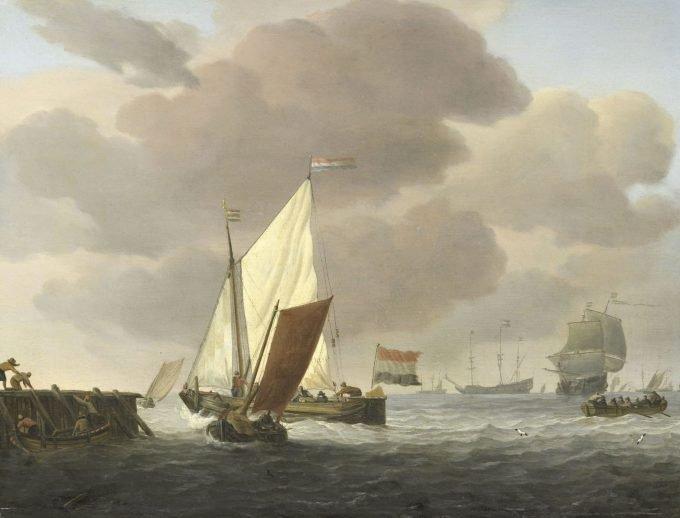 Schepen voor de kust bij flinke bries, Willem van de Velde (II), ca. 1650 - ca. 1707, kunsttekoop