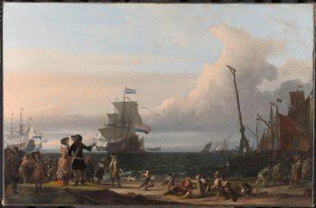 Nederlandse schepen op de rede van Texel; in het midden de 'Gouden Leeuw', het vlaggenschip van Cornelis Tromp, Ludolf Bakhuysen, 1671