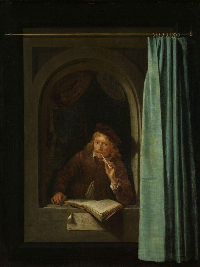 Pijprokende man, Gerard Dou, ca. 1650