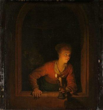 Meisje met olielamp voor een venster, Gerard Dou, 1645 – 1675
