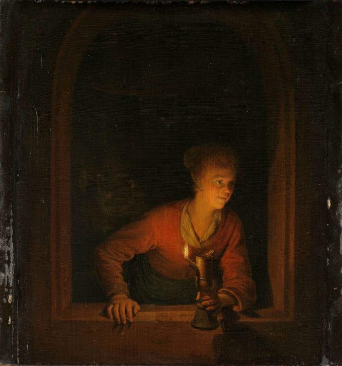Meisje met olielamp voor een venster, Gerard Dou, 1645 - 1675