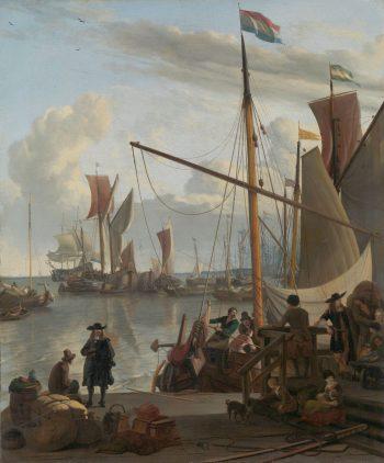 Het IJ voor Amsterdam, van de Mosselsteiger gezien, Ludolf Bakhuysen, 1673