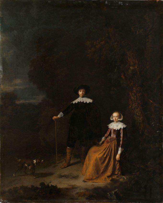 Portret van een echtpaar in een landschap, Gerard Dou, 1630 - 1675
