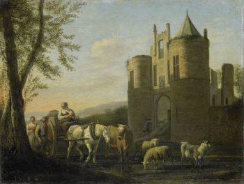 De voorpoort van kasteel Egmond, Gerrit Adriaensz. Berckheyde, 1670 – 1698