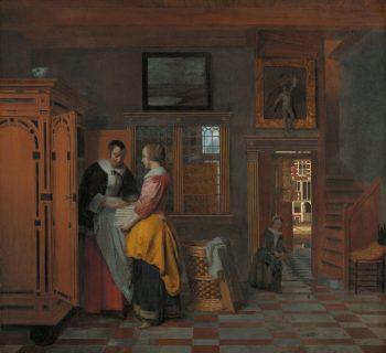Binnenhuis met vrouwen bij een linnenkast, Pieter de Hooch, 1663