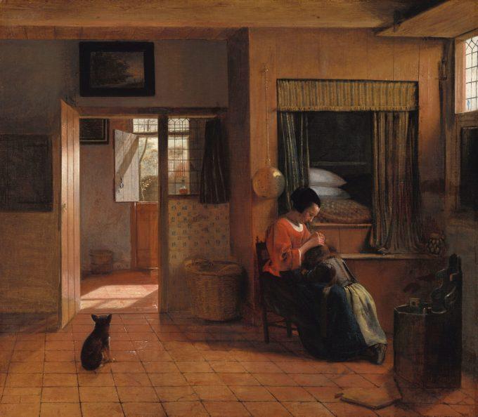 Een moeder die het haar van haar kind reinigt, bekend als 'Moedertaak', Pieter de Hooch, ca. 1658 - ca. 1660