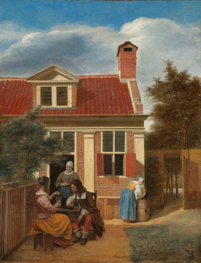 Een gezelschap op de plaats achter een huis, Pieter de Hooch, ca. 1663 - ca. 1665