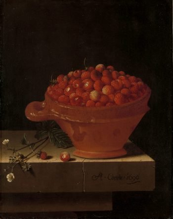Een bakje aardbeien op een stenen plint, Adriaen Coorte, 1696