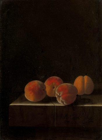 Vier abrikozen op een stenen plint, Adriaen Coorte, 1698