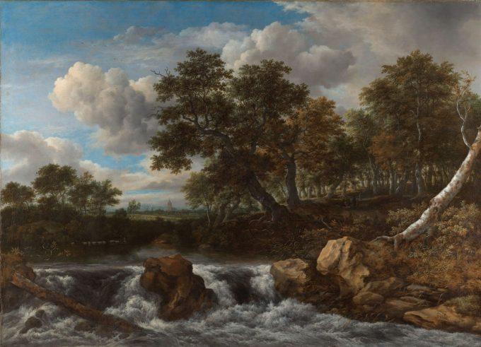 Landschap met waterval, Jacob Isaacksz. van Ruisdael, ca. 1668