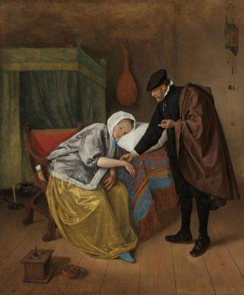 De zieke vrouw, Jan Havicksz. Steen, ca. 1663 – ca. 1666