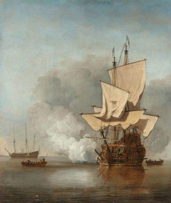 Het kanonschot, Willem van de Velde (II), ca. 1680