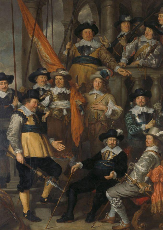 Officieren en andere schutters van wijk XVIII in Amsterdam onder leiding van kapitein Albert Bas en luitenant Lucas Conijn, Govert Flinck, 1645
