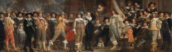 Schutters van wijk VIII in Amsterdam onder leiding van kapitein Roelof Bicker, Bartholomeus van der Helst, ca. 1640 – ca. 1643