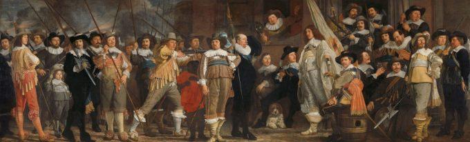 Schutters van wijk VIII in Amsterdam onder leiding van kapitein Roelof Bicker, Bartholomeus van der Helst, ca. 1640 - ca. 1643