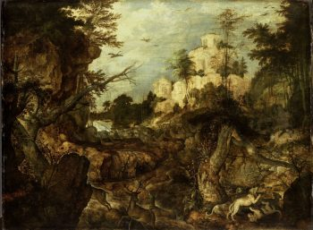 Everzwijnjacht in een rotsachtig landschap, Roelant Savery, 1620