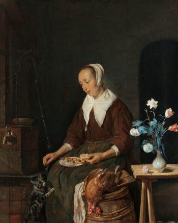 Vrouw aan de maaltijd, bekend als 'Het ontbijt van de kat', Gabriël Metsu, ca. 1661 – ca. 1664