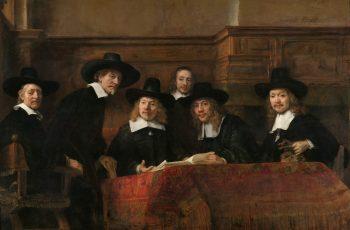 De waardijns van het Amsterdamse lakenbereidersgilde, bekend als 'De Staalmeesters', Rembrandt van Rijn, 1662