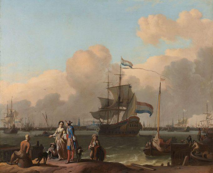 Het IJ voor Amsterdam met het fregat 'De Ploeg', Ludolf Bakhuysen, 1680 - 1708