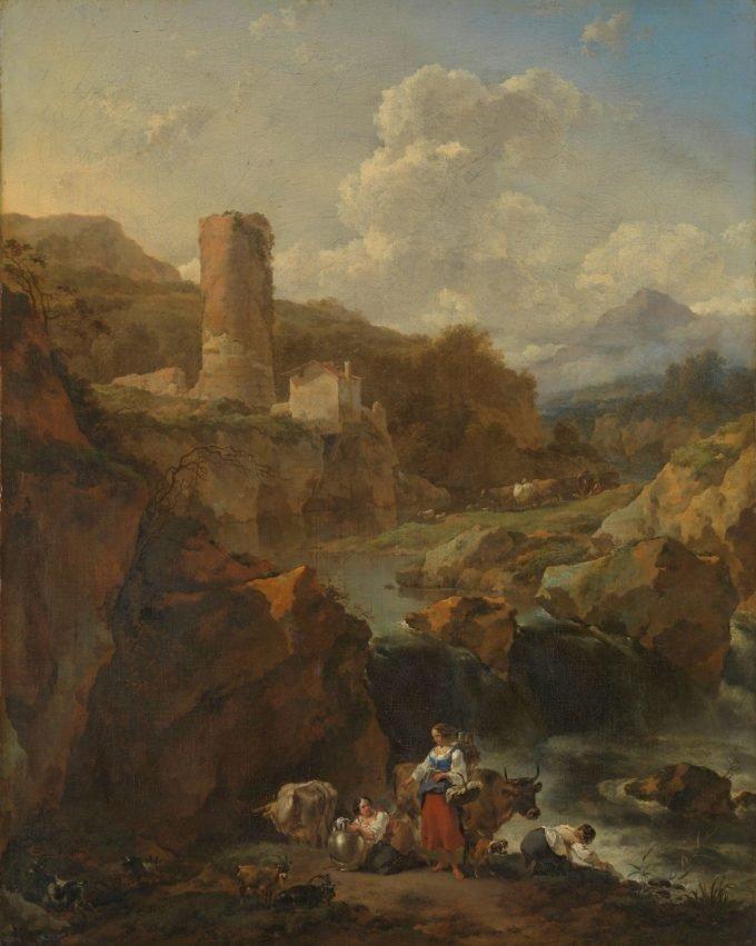 Italiaans landschap, Nicolaes Pietersz. Berchem, 1656