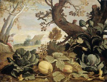 Landschap met groenten en vruchten op de voorgrond, Abraham Bloemaert, 1600 – 1651