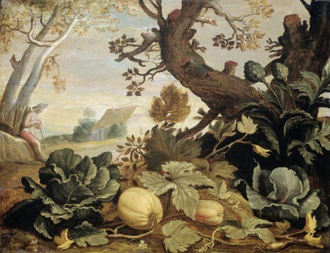 Landschap met groenten en vruchten is bij ons leverbaar als hoogwaardige print op canvas, aluminium, acrylglas en als fotoprint. Zelfs een handgeschilderde reproductie is mogelijk