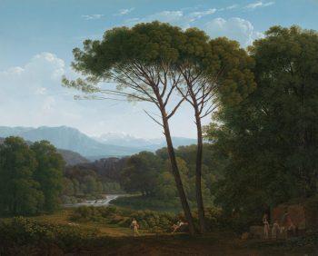 Italiaans landschap met pijnbomen, Hendrik Voogd, 1795