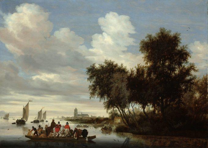 Rivierlandschap met een veerboot, Salomon van Ruysdael, 1649