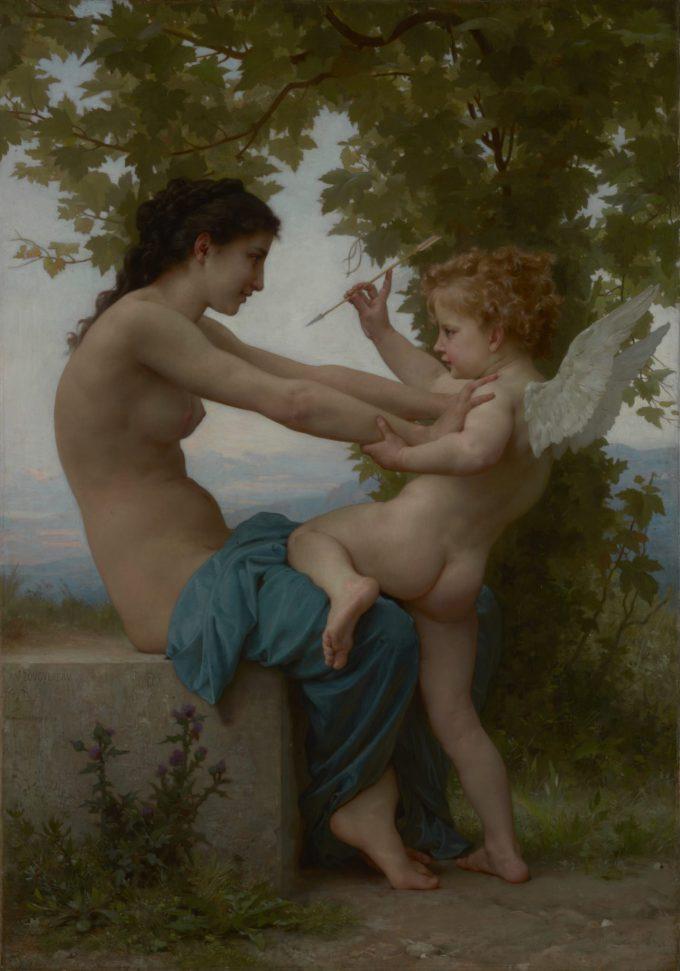 William-Adolphe Bouguereau, Een jonge vrouw verdedigt zichzelf tegen Eros, 1880