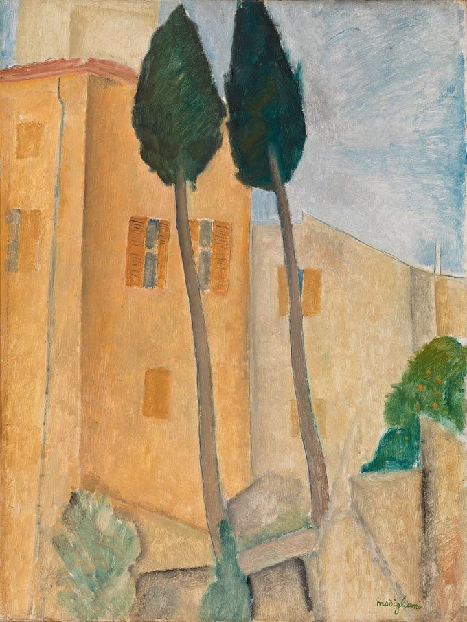 Amedeo Clemente Modigliani, Cipressen en huizen bij Cagnes, 1919