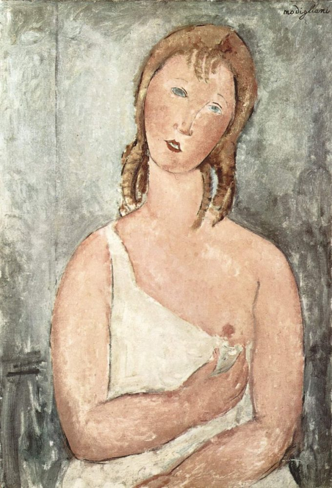 Amadeo Clemente Modigliani, Girl in the shirt (red-haired girl), 1918