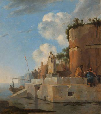Jan Asselijn, Ruïne aan het water in Italië,  1640 – 1652