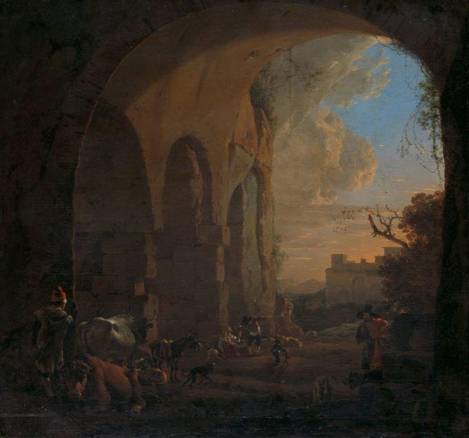 Jan Asselijn, Herders met vee onder een gewelf van het Colosseum te Rome, 1640 - 1652
