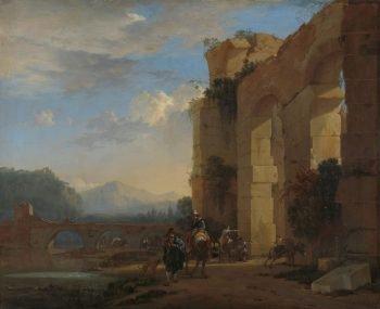 Jan Asselijn, Ezeldrijvers bij een Italiaanse ruïne, ca. 1650