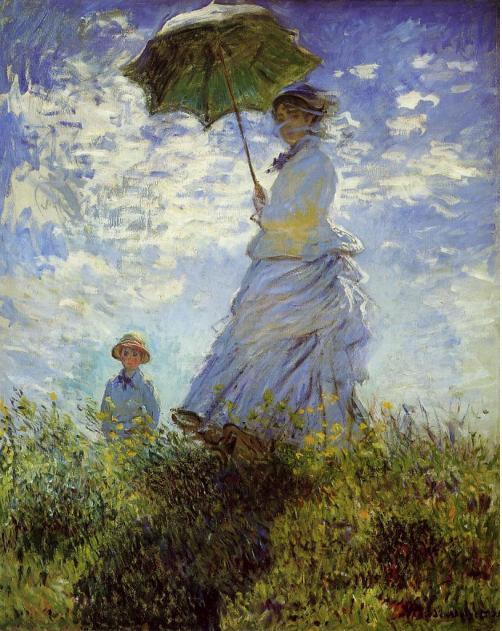 Claude Monet, vrouw met een parasol (Camille Monet en hun zoon), 1875
