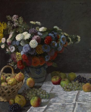 Claude Monet, stilleven met bloemen en fruit, 1869