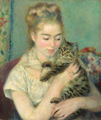 Pierre-Auguste Renoir, vrouw met een kat, 1875