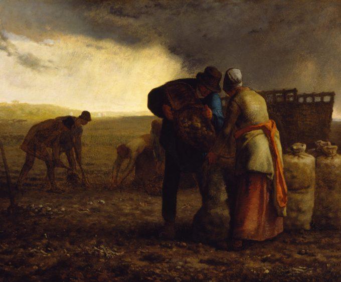 Jean-François Millet, De aardappeloogst, 1855